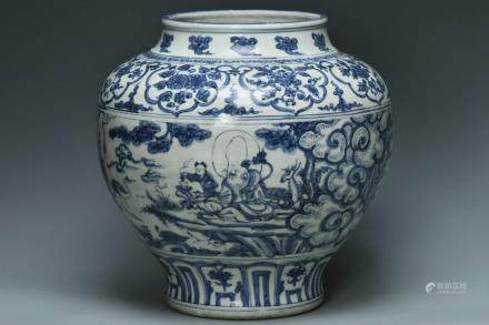 A MING DYNASTY BLUE AND WHITE EIGHT IMMORTALS JAR