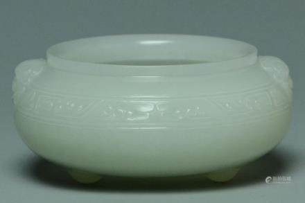 A QING DYNASTY WHITE JADE CARVED CENSER