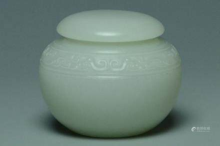 A QING DYNASTY WHITE JADE CARVED JAR