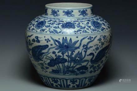 A LARGE BLUE AND WHITE JAR ZHENGDE MARK