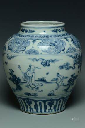 A MING DYNASTY BLUE AND WHITE FIGURE SUBJECT JAR