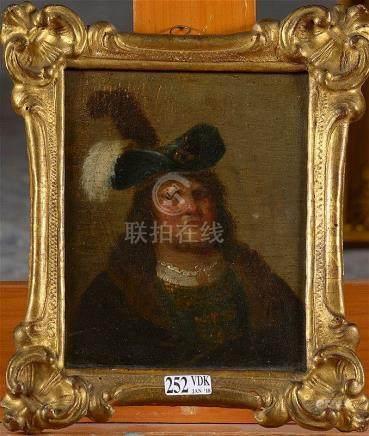 """REMBRANDT (1606 - 1669) - Huile sur panneau """"Portrait d'un h"""