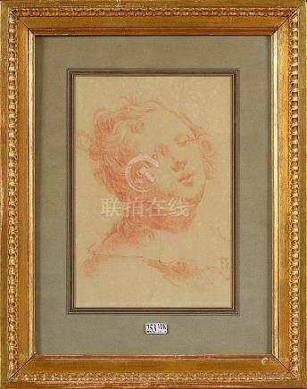 """""""Portrait d'une jeune fille"""" sanguine sur papier. Epoque: pr"""