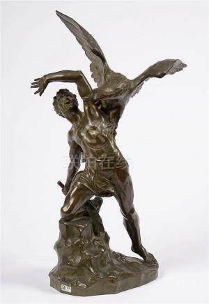 """ROMBAUX Egide (1863 - 1942) - """"Prométhée"""" en bronze à patine"""