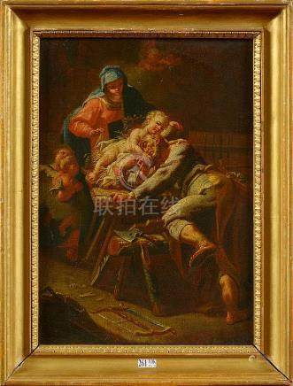 GIORDANO Luca (1634 - 1705) - Huile sur toile marouflée sur