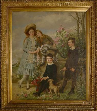 "LEBRUN Louis Joseph (1844 - 1900) - Huile sur toile ""Portrai"