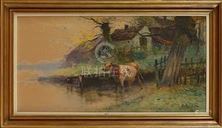 """HAGEMANS Maurice (1852 - 1917) - """"Vache s'abreuvant"""" aquarel"""