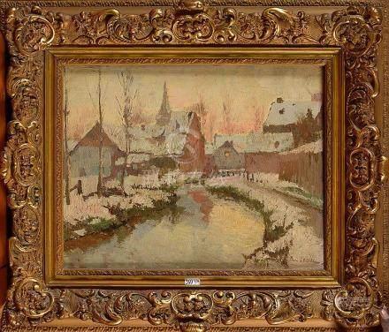 """LEDUC Paul (1876 - 1943) - Huile sur toile """"Vue d'un village"""