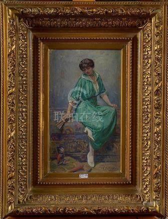 """LEFEBVRE Maurice Jean (1873 - 1954) - Huile sur panneau """"Fem"""