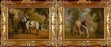 JONES E.H.B. (XIXème) - Paire d'huiles sur panneau d'acajou