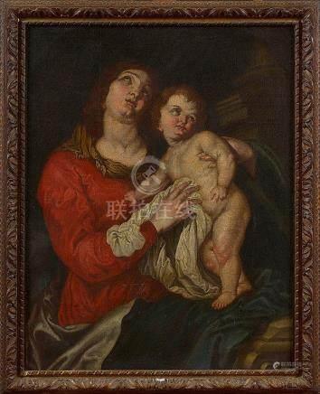 VAN DYCK Antoon (1599 - 1641) - Huile sur toile marouflée su
