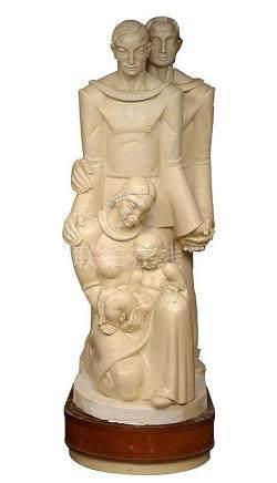 "POELS Albert (1903 - 1984) - ""La famille chrétienne"" en plât"