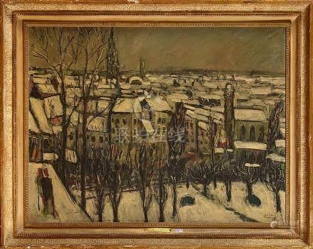 """CANNEEL Jules-Marie (1881 - 1953) - Huile sur toile """"Le Mont"""