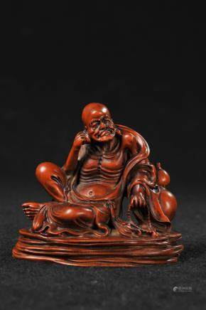 CHINESE HARDWOOD FIGURE OF LOHAN
