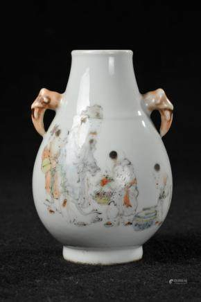 CHINESE QIANJIANG PAINTED DEER ZUN VASE