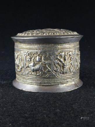 CHINESE SILVER COVER BOX