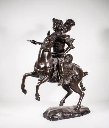 ANTIQUE BRONZE RIDER HORSE