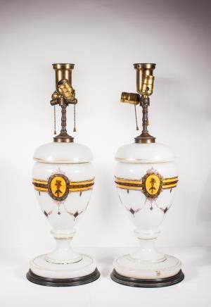 PAIRS OF ANTIQUE BOHEMIAN GLASS LAMPS