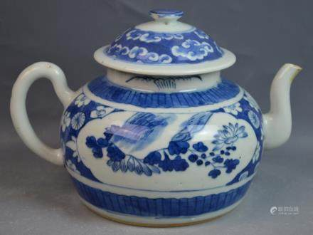 Chinese Blue and White Porcelain Teapot and Cover