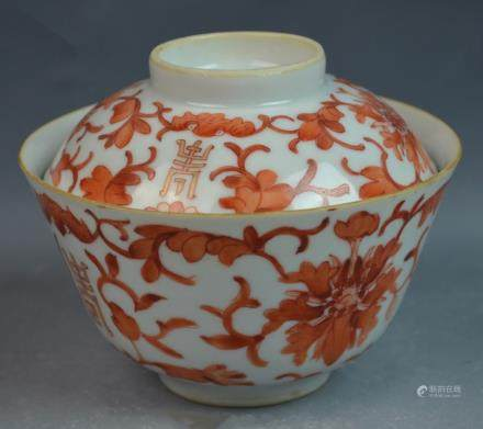 Chinese Iron-red Porcelain Cup and Cover