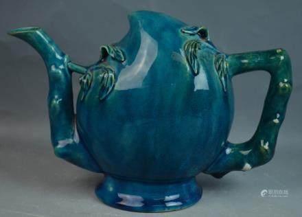 Chinese Turquoise-blue Glazed Porcelain Teapot