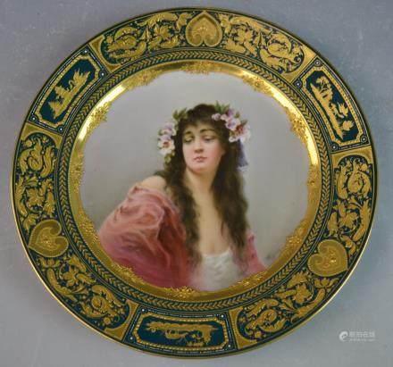 Vienna Porcelain Plate with Portrait