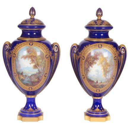 Pr. Napoleon III Sevres porcelain cobalt blue vase