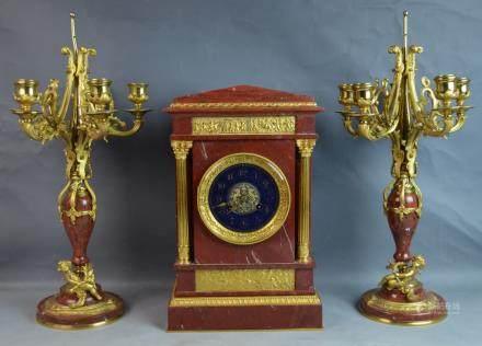 3 pec Bronze & Marble Clock Set