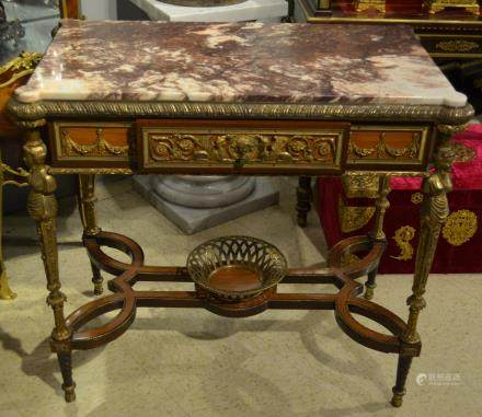 French Bronze & Marble Table