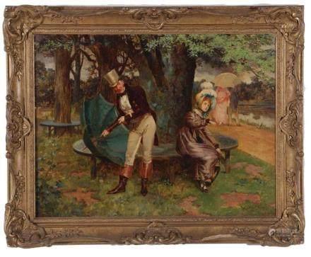"Henry Gillard Glindoni Painting ""Spring Shower"""