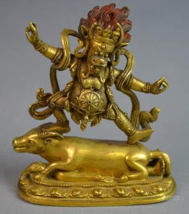 Tibetan 18th C. Gilt Bronze Figure of Yama