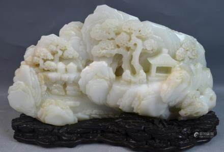 Chinese Jade Carved Mountain Boulder w/ Wood Stand