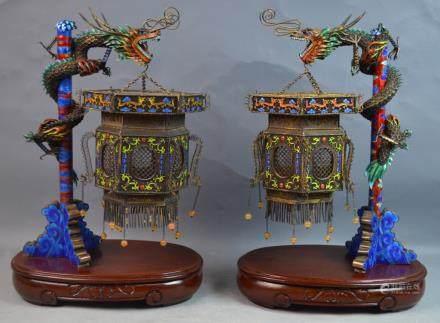 Pr Chinese Silver & Enamel Lantern w/ Wood Stand