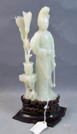 Chinese Jade Carved Figure guanyin w/ Wood Stand