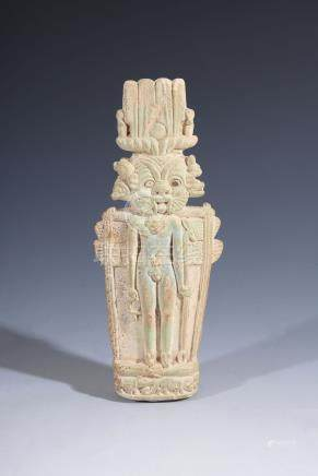An Egyptian green glazed composition pantheistic syncretic deity, circa 3rd-1st century BC, Horus