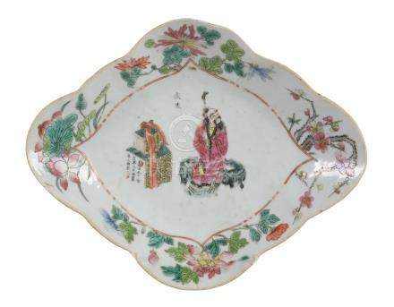 A Cantonese Famille Rose footed dish, circa 1860-1880, of shaped lozenge form, the centre painted