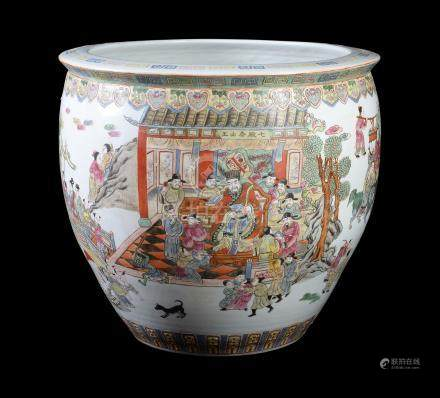 A large Chinese Cantonese style fish bowl or jardinière, 20th century, painted in famille rose