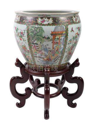 A large Chinese Cantonese style jardinière, 20th century, painted with alternating panels of
