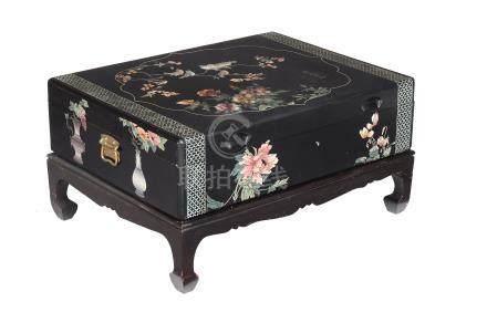 Ω A Chinese coromandel lacquer box on stand , modern, the top with a cartouche filled with birds