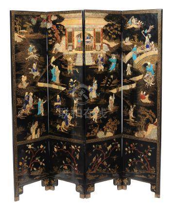 A Chinese inlaid hardstone four-fold screen, late Qing Dynasty, 19th century, the scene is inlaid