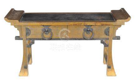 A gilt painted and metal mounted altar table , of recent manufacture, probably Korean, with two