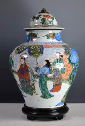 Qing Chinese Wucai Porcelain Jar & a Cover