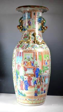 Lg 19 C Rose Mandarin Porcelain Jar, Lion Handles