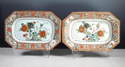 Pr Chinese Kangxi Famille Verte Porcelain Platters