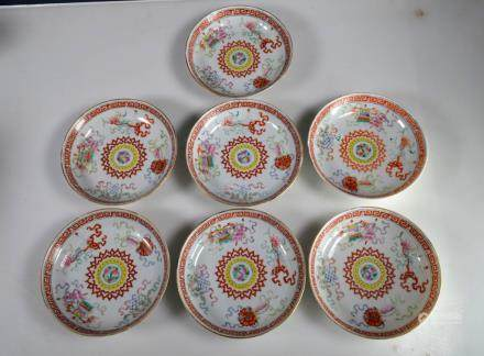 7 - Chinese Porcelain Plates; Imperial Design