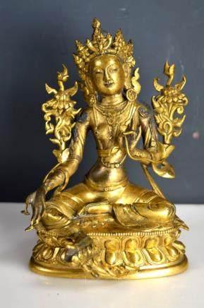 Fine 18th C Tibetan Seated Buddha in Gilt Bronze