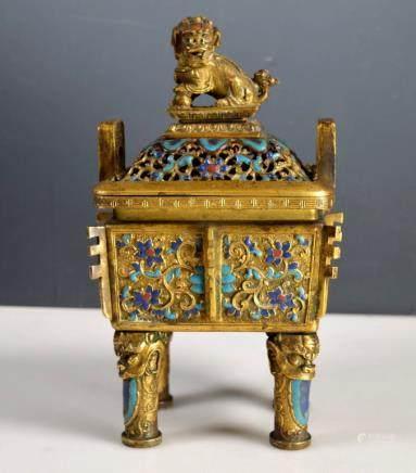 18/19 C Chinese Gilt Bronze & Champleve Censer