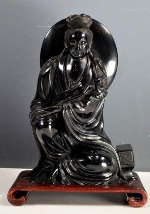 Chinese Carved Cherry Amber Seated Guanyin