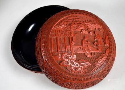 18th/19th C Chinese Carved Red Lacquer Round Box