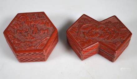 2 Antique Chinese Red Cinnabar Lacquer Boxes